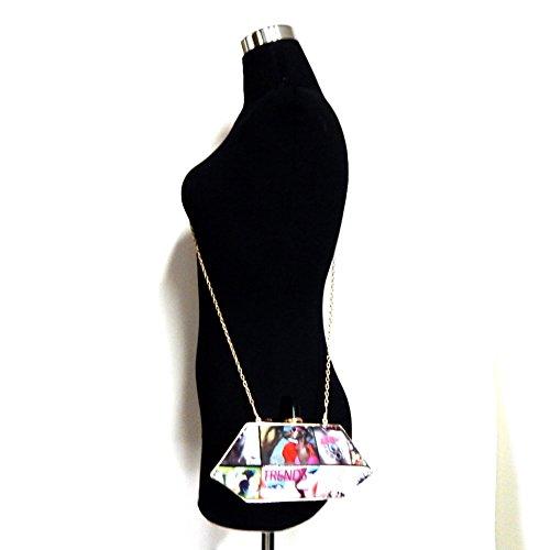 Lipstick Knob Hexagonal Hard Frame Clutch Bag Newspaper