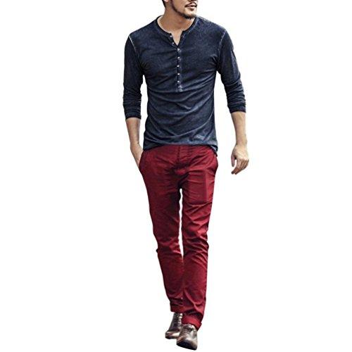 Clearance Sale Men Henley Shirts vermers Men Autumn Casual Vintage Long Sleeve V-Neck T-Shirt Tops(2XL, ()