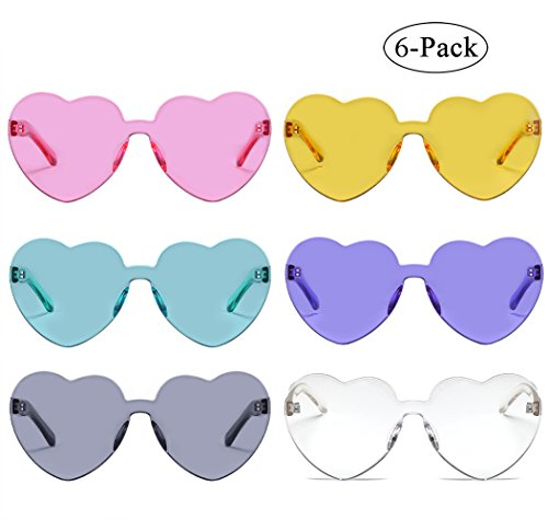 One Piece Candy Color Transparent Rimless Sunglasses Love Heart Shape Eyewear - 6 Sunglasses Pack