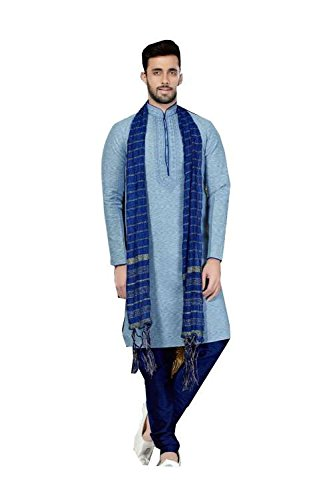 Da Facioun Mens Kurta Pajama Wedding Cotton Silk Blue India Party Wear Set Of 3 by Da Facioun
