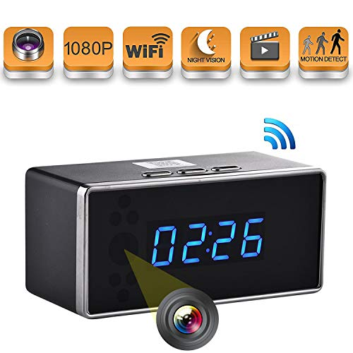 - Hidden Camera Clock Spy WiFi Cam Wireless HD with Night Vision Motion Detection 140 Angle 1080P Real-Time View Security Surveillance Covert Cameras for Home Nanny Office Indoor Use