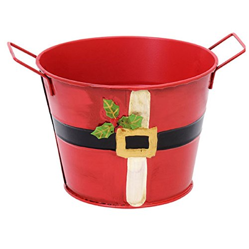 (Santa Metal Bucket With Handles Red 5 Inches)