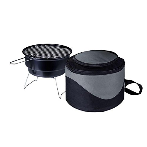 Portable Charcoal Grill and Cooler - Round Table Top Grill