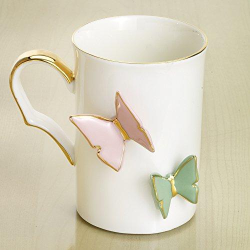 Beautiful Porcelain (Bits and Pieces - Beautiful Porcelain Butterfly Mug - Gold Handled 10oz Tea and Coffee Mug)