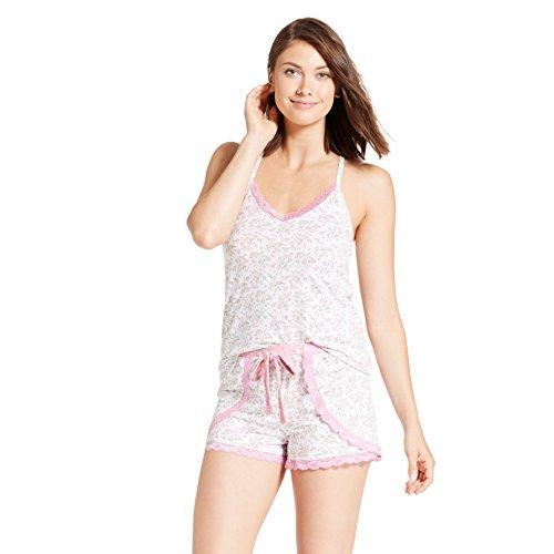 Nanette Nanette Lepore Womens Racerback Shirt Elastic Waist Shorts Pajama Set Spring White Large ()