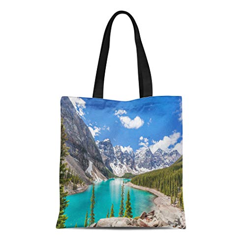 Semtomn Canvas Tote Bag Moraine Lake in Banff National Park Canadian Rockies Canada Durable Reusable Shopping Shoulder Grocery Bag