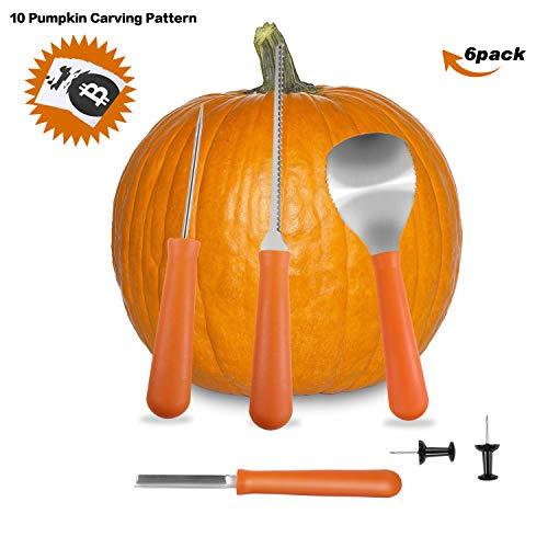 Pumpkin Carving Kit, COOLWAS 6 Pcs Professional Heavy