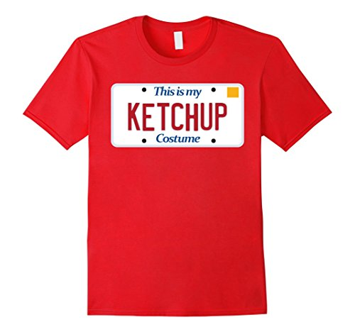 Mens Ketchup t-shirt; generic costume tshirt; silly Halloween tee 2XL Red
