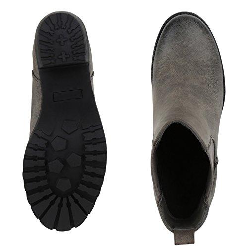 napoli-fashion Damen Stiefeletten Chelsea Boots Blockabsatz Profilsohle Schuhe Jennika Stone Glatt