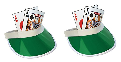 Beistle S60315AZ2, 2 Piece Blackjack Visors, One Size Fits Most -
