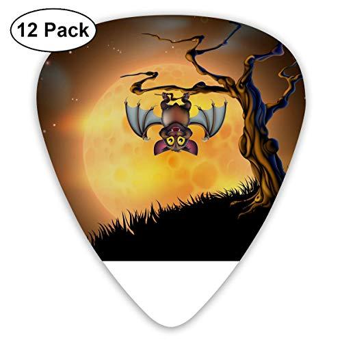 Anticso Custom Guitar Picks, Halloween Bat Upside Down Tree Moon Guitar Pick,Jewelry Gift For Guitar Lover,12 -