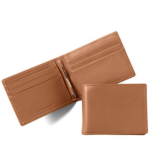 Leatherology Men's Bifold Wallet with Spring Money Clip - RFID Available - Full Grain Leather - Cognac (brown)