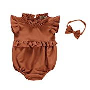 BabiBeauty Twins Baby Girls Romper Toddler Girls Ruffles Jumpsuit Onesies with Headband (Brown, 80/6-12 Months)