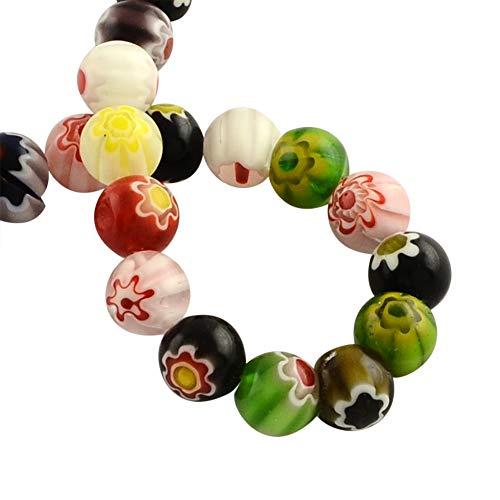 PH PandaHall 10 Strands 4mm Millefiori Lampwork Glass Beads Round Spacer Bead for Jewelry Making (980pcs)