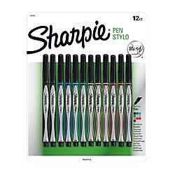 Sharpie(R) Pens, Fine Point, 0.3 mm, Black/Silver Barrels, Assorted Ink Colors, Pack of 12 ()