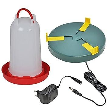 Set plato calentador de agua Ø20cm y bebedero 3 litros para pollos o codorniz