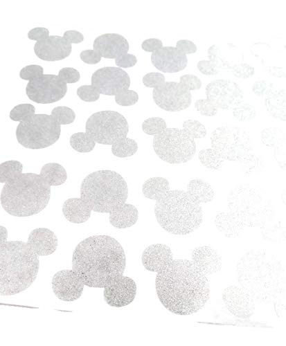 Transparent Silver Mickey Mouse Vinyl Decal Stickers - 25ct