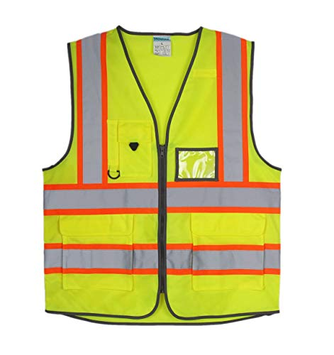 SHORFUNE High Visibility Safety Vest with Pockets, Mic Tab, Reflective Strips and Zipper, Yellow, ANSI/ISEA Standards, L