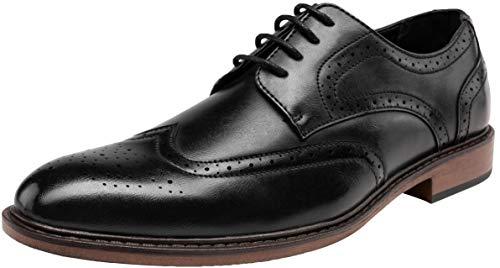 JOUSEN Men's Dress Shoes Classic Brogue Oxford Business Wingtip Shoes (10.5,Black)