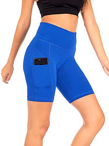 (DEAR SPARKLE Yoga Shorts Running Short with 3 Pockets for Women Workout High Waist Tummy Control Plus (S4) (Royal, Medium))