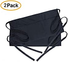 "Waist Apron with 3 Pockets 8 Pack - Black Server Aprons Waitress Waiter Half Short Aprons Kitchen Restaurant for Women Men, 24X12"" for Holding Server Book Guest Check Card Holder by BOHARERS"