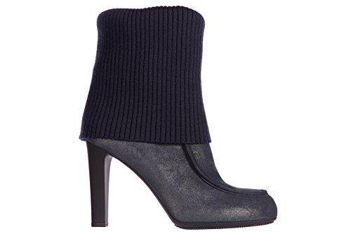 tacón de botines Hogan mujer botas en nuevo piel blu fwvn5qEn