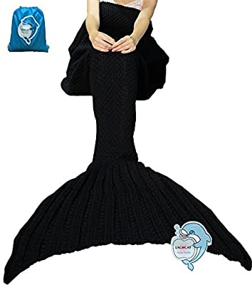 LAGHCAT Mermaid Tail Blanket Crochet Mermaid Blanket for Adult/Kids, Soft All Seasons Sleeping Blankets, Whale Tail Pattern