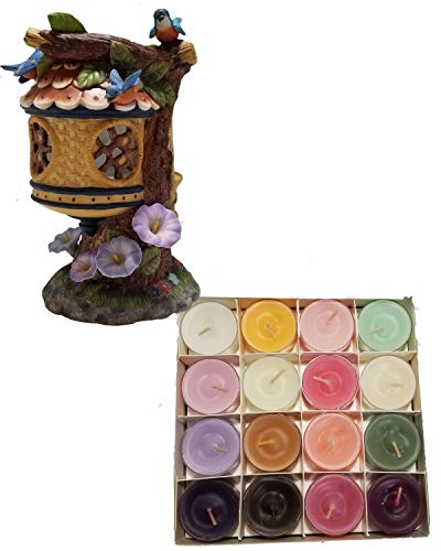 (Shoppe Share Birdhouse and Flowers Tealight Holder Decoration and Candles Bundle - Retired)