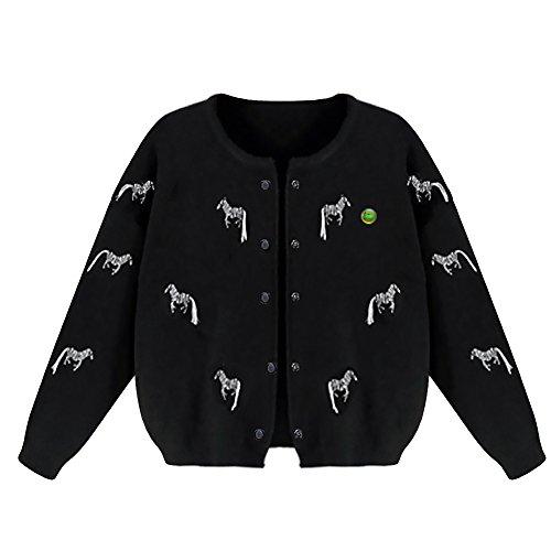 LOCOMO bordado de caballo de cebra de punto Mujer Manga Larga Cárdigan ffj051 Negro