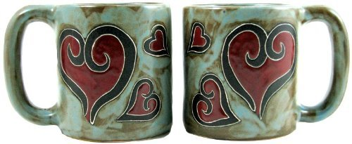 Set Of Two (2) MARA STONEWARE COLLECTION - 16 Oz. Coffee Cup Collectible Dinner Mugs - Heart Design Heart London Mug