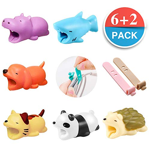 Cable Bites Animals, 6 Pack Cartoon Animal Bite Cable Protector Compatible for iPhone USB Cable Accessory, 2 Pack Cord Organizer For Gift