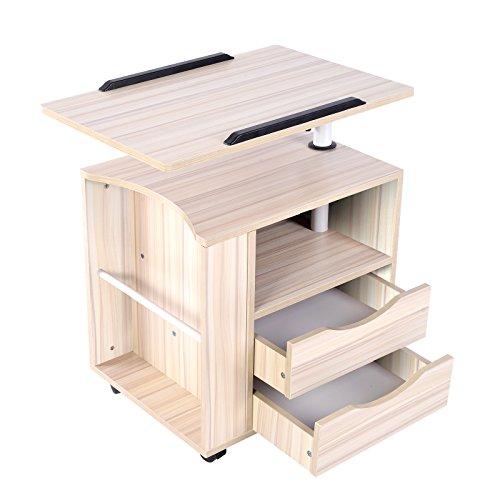 Mesita de noche funcional ajustable Emall Life, de madera con cajones, ruedas y estante abierto, 3 colores: Amazon.es: Hogar