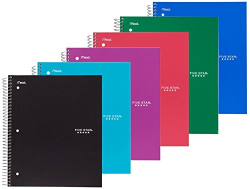 - Five Star Spiral Notebook, 3 Subject, 150 College Ruled Sheets, Assorted Colors, 6 PACK