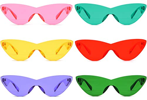 Colorful One Piece Rimless Transparent Cat Eye Sunglasses for Women Tinted Candy Color Eyewear (6 pack)
