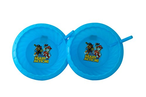 Nickelodeon Double Pack Plastic Sippie Bowls with Attached Straw and Slanted Edges, Blue Paw Patrol, 1-pack (2 Bowls in -