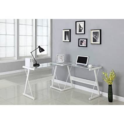 Wonderful L Shaped Computer Desk Of Santorini Features Spacious Tempered Glass  Desktop, White, Ideal Photo Gallery