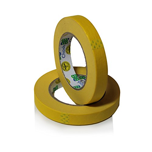 Insta Finish Performance Yellow Masking Tape (3/4 inch x 60 yards) 1 Case of 48 Rolls - Crepe Paper Industrial Grade - Easy Release Auto Body Tape ()