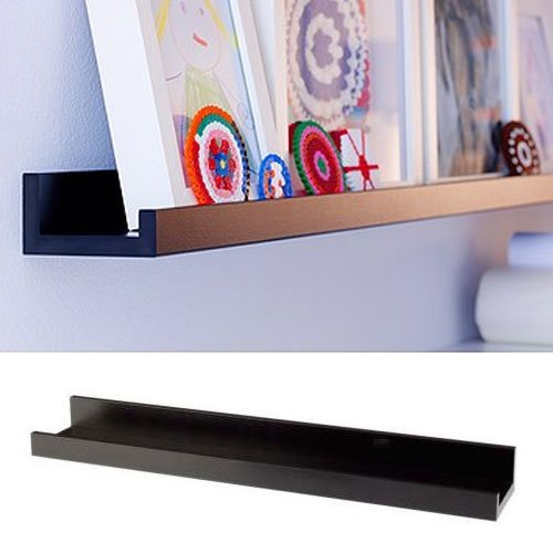 Denver Modern Floating Wall Ledge Shelf for Pictures and Frames 22 Inches Long , Black