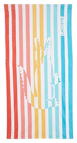 "Lacoste Duke 100/% Cotton Beach Towel 36/"" W x 72/"" L Blue Stripe"