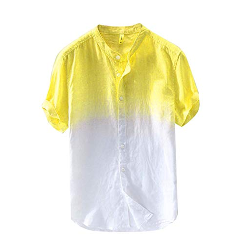 GDJGTA Mens Summer Short Sleeve Cool and Thin Breathable Collar Hanging Dyed Gradient Cotton Shirt Yellow ()