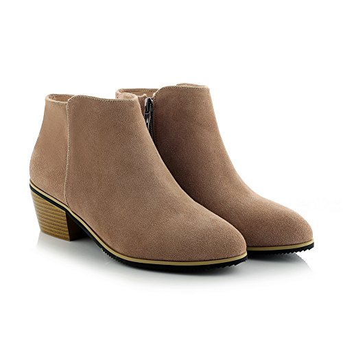 Ladies BalaMasa Nude Zipper Frosted Chunky Heels Mule Boots dvxqavS