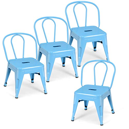 Costzon Set of 4 High Back Kids Metal Stool, Contour School Student Chair, Stackable for Indoor/Outdoor,Preschool, Daycare, Bedroom, Playroom, Iron Furniture Stool for Boys & Girls (Blue)