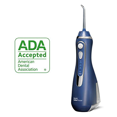 Waterpik Cordless Water Flosser Rechargeable Portable Oral Irrigator For Travel And Home - Cordless Advanced, WP-563 Classic Blue (Best Cordless Oral Irrigator)