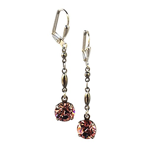 HisJewelsCreations Rose Pink Chaton Dangle Earrings with Crystal from Swarovski ()