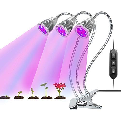 Grow Light, SOLOFISH Three Head Grow Lights 21W Full Spectrum LED Grow Lamp with Adjustable Gooseneck 3 Switch Modes for Hydroponics Garden Tent Home Potted