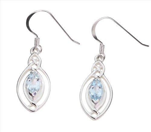 Boucles d'oreilles en Argent Fin 925 avec Topaze bleue Collection Celtique