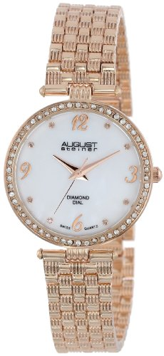August Steiner Women's AS8078RG Diamond Mother-Of-Pearl Rose-Tone Bracelet Watch