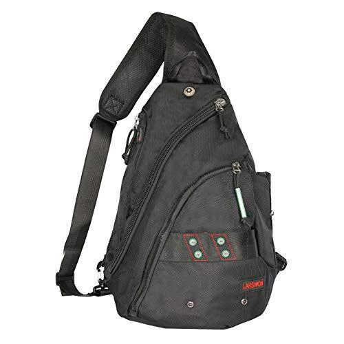 Sling Backpack, Sling Bag for Tablet, Crossbody Bag For Men, Larswon Shoulder Bag for Women, Tablet Bag, Top Quality Backpack Black ()
