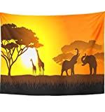 Emvency 60''x80'' Indian Tapestry Mandala hippie wall hangings Orange Africa African Savanna Evening Landscape Safari Tree Giraffe Silhouette Grass Home Decor Tapestries For Bedroom