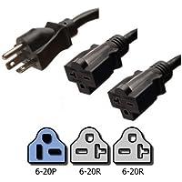 NEMA 6-20P to 2x 6-20R Y Splitter Cord - 2 Foot, 20A/250V, 12/3 AWG - Iron Box # IBX-2730-02